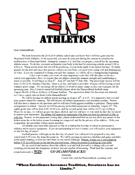 2018 2019 Athletic Letter